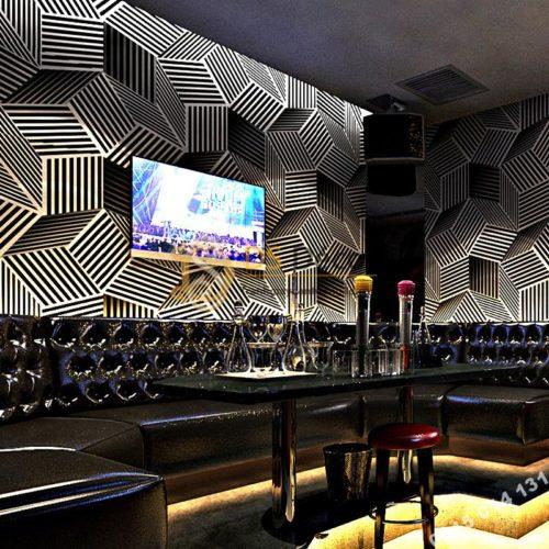 Giấy dán tường quán karaoke hình hộp 3 chiều 3D201- màu trắng