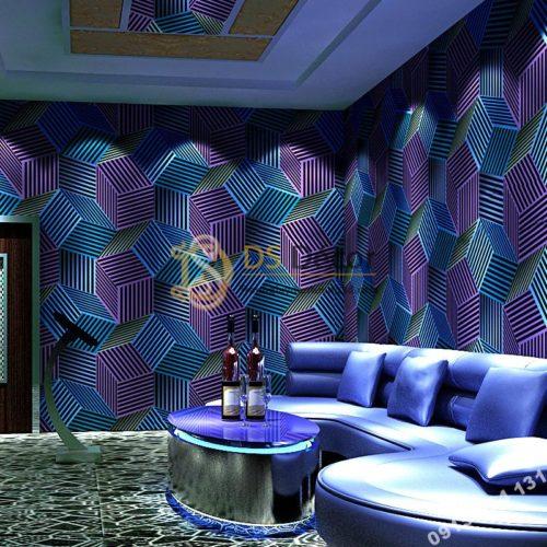 Giấy dán tường quán karaoke hình hộp 3 chiều 3D201- màu xanh