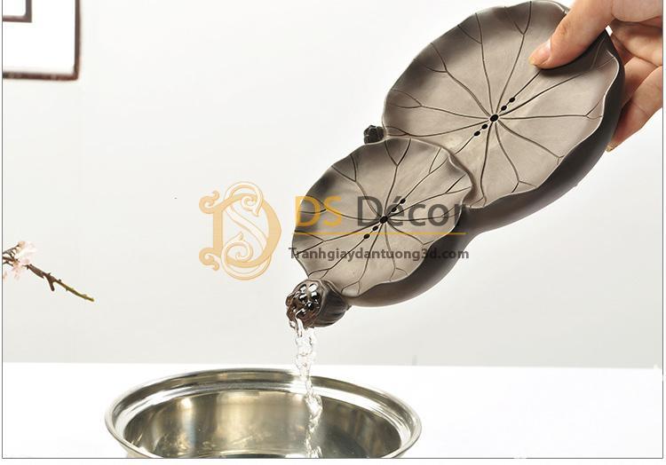 Khay trà hình lá sen kt01 đựng nước