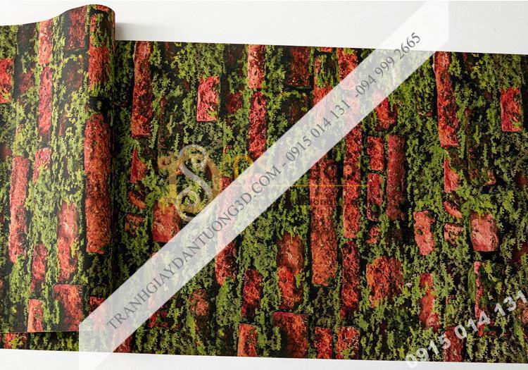 Bề mặt giấy dán tường 3D gạch đỏ mọc rêu 3D210