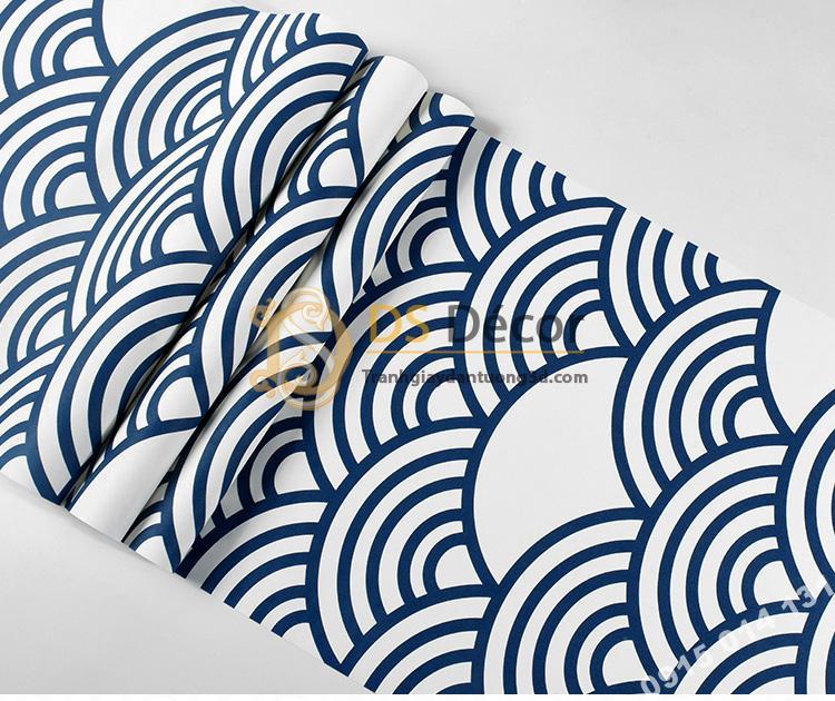 Bề mặt Giấy dán tường phong cách Nhật Bản sóng biển 3D214 màu tím than