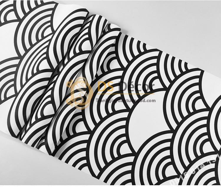 Bề mặt Giấy dán tường phong cách Nhật Bản sóng biển 3D214 màu trắng đen