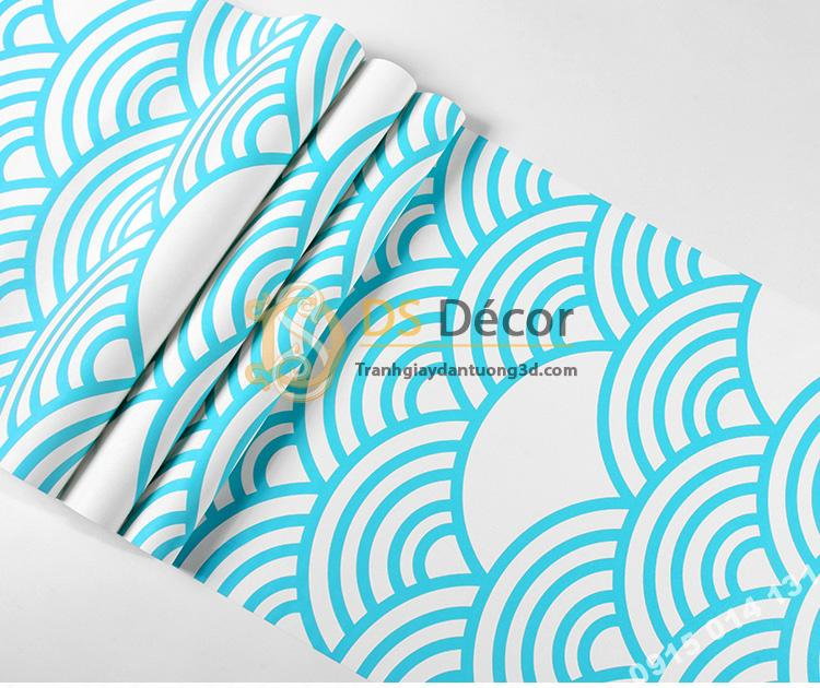 Bề mặt Giấy dán tường phong cách Nhật Bản sóng biển 3D214 màu xanh