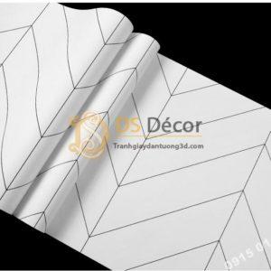 Bề mặt giấy dán tường sọc chéo trắng đen hiện đại 3D211