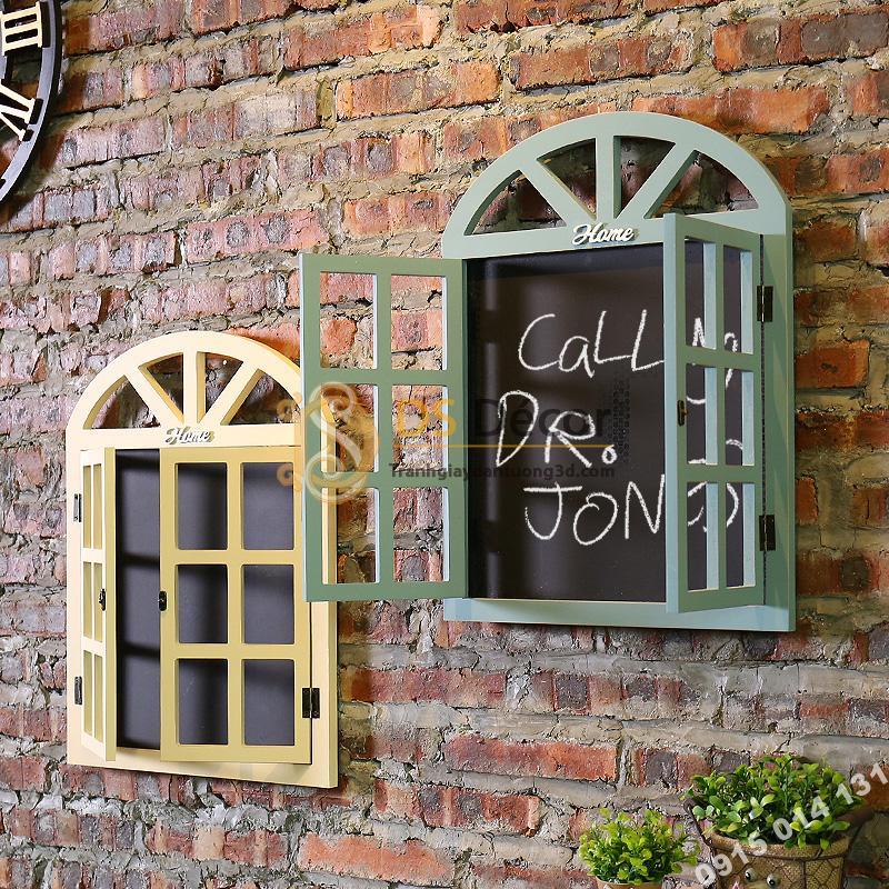 Cửa sổ gỗ trang trí quán cafe trà sữa CS01 màu xanh và vàng