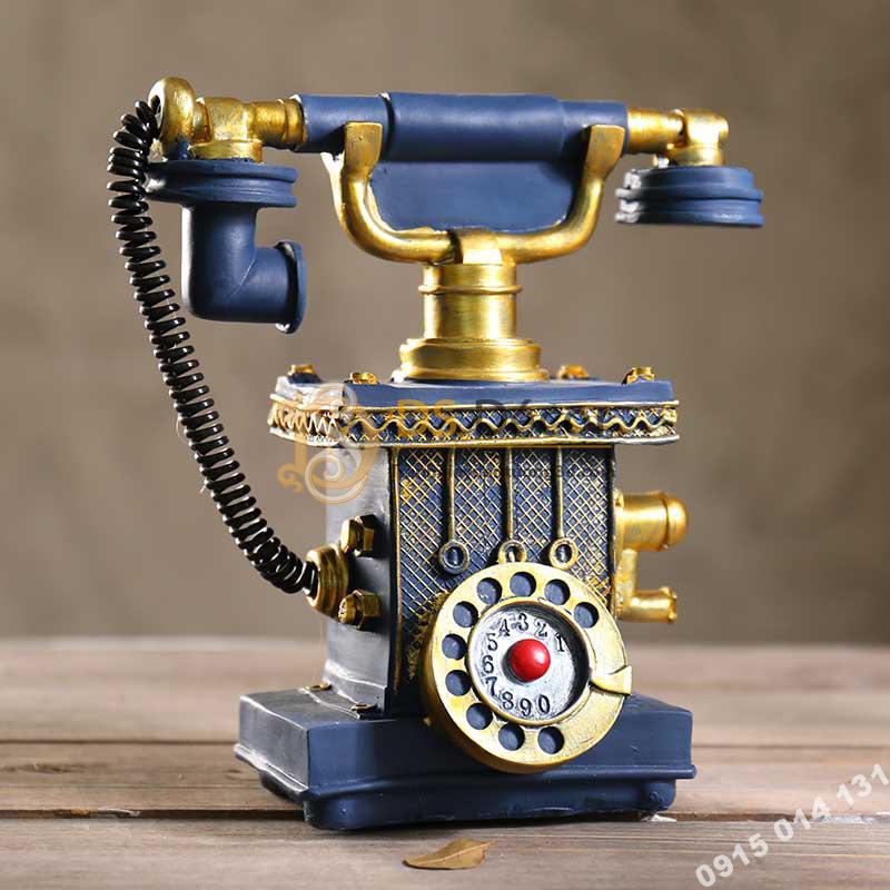 Điện thoại cổ trang trí quán cafe DC01 màu xanh