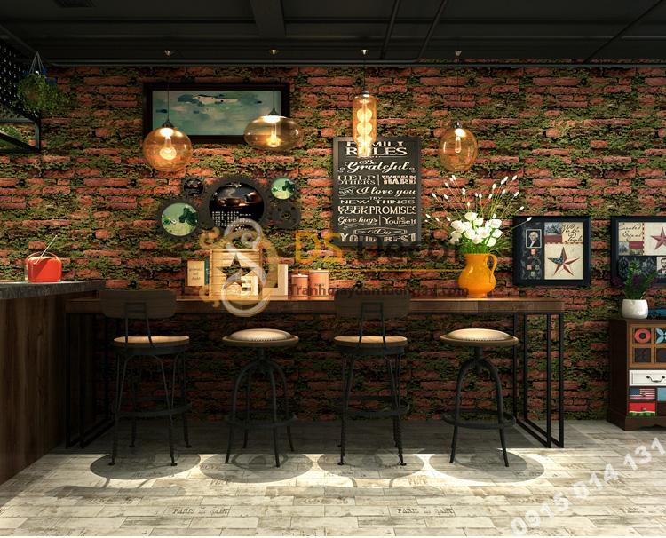 Giấy dán tường 3D gạch đỏ mọc rêu 3D210 màu nhạt trang trí quán cafe