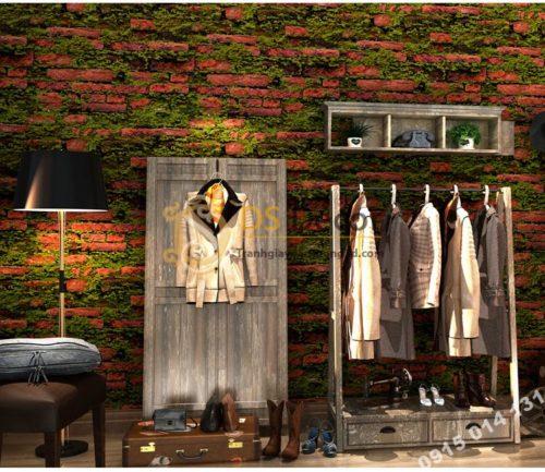 Giấy dán tường 3D gạch đỏ mọc rêu 3D210 màu đậm trang trí shop quần áo