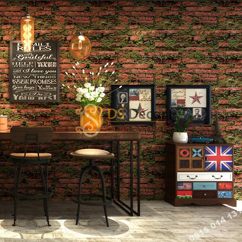 Giấy dán tường 3D gạch đỏ mọc rêu 3D210