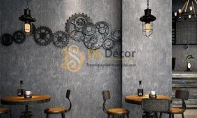 Giấy dán tường giả xi măng trang trí decor quán xá