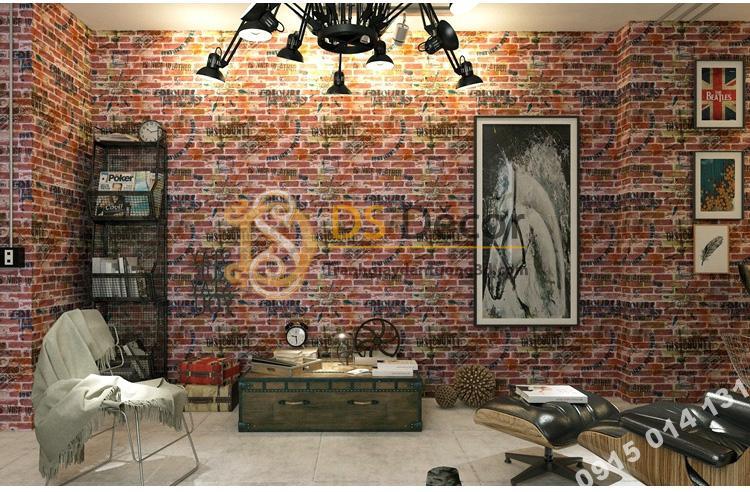 Giấy dán tường giả gạch graffiti hip hop 3D216 màu đỏ trang trí studio