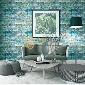 Giấy dán tường giả gạch graffiti hip hop 3D216 màu xanh