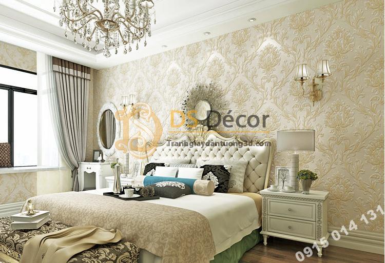 Giấy dán tường hoa cổ điển dập nổi 3D212 màu nâu nhạt trang trí phòng ngủ