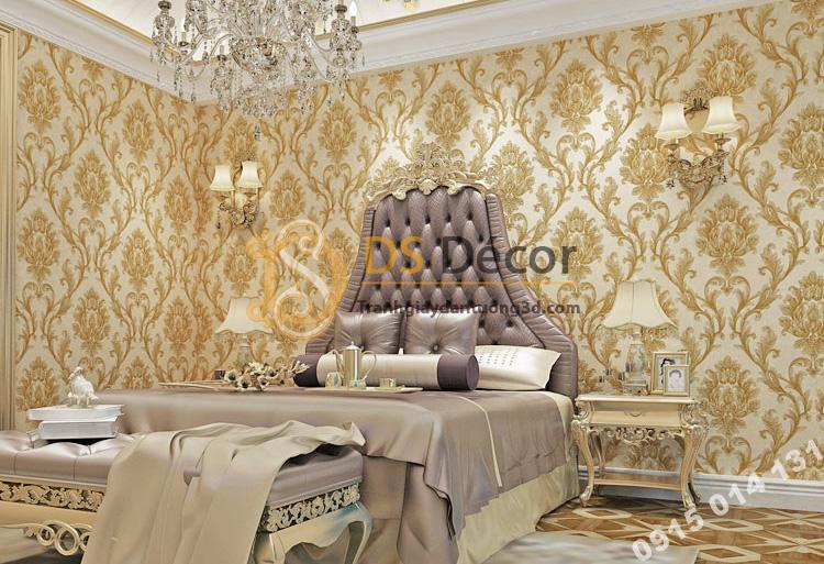 Giấy dán tường hoa cổ điển dập nổi 3D212 màu nâu đậm trang trí phòng ngủ