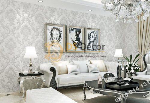 Giấy dán tường hoa cổ điển dập nổi 3D212 màu trắng
