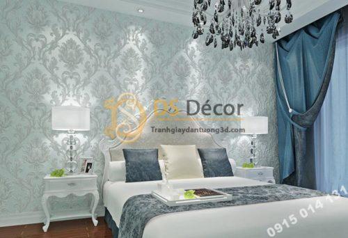 Giấy dán tường hoa cổ điển dập nổi 3D212 màu xanh
