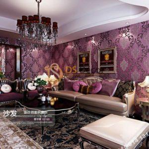 Giấy dán tường hoa cổ điển sang trọng 3D19 màu tím