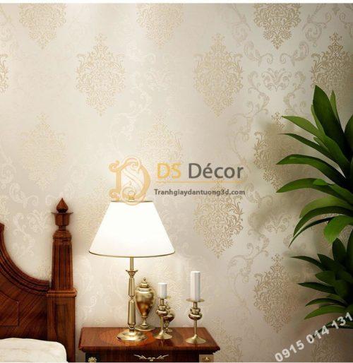 Giấy dán tường hoa cổ điển sang trọng 3D19 màu trắng