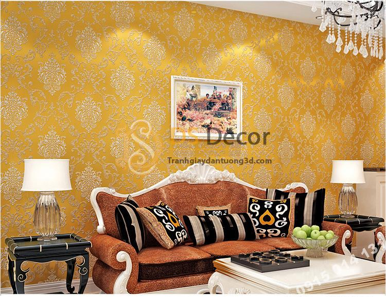 Giấy dán tường hoa cổ điển sang trọng 3D19 màu vàng