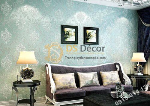 Giấy dán tường hoa cổ điển sang trọng 3D19 màu xanh