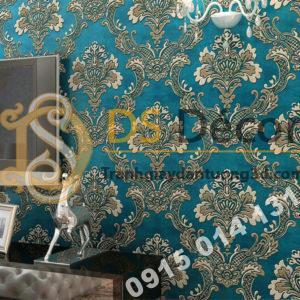 Giấy dán tường hoa dập nổi cổ điển 3D221 màu xanh phòng khách