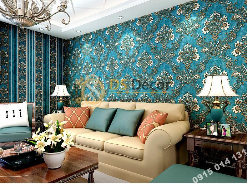 Giấy dán tường hoa dập nổi cổ điển 3D221 màu xanh