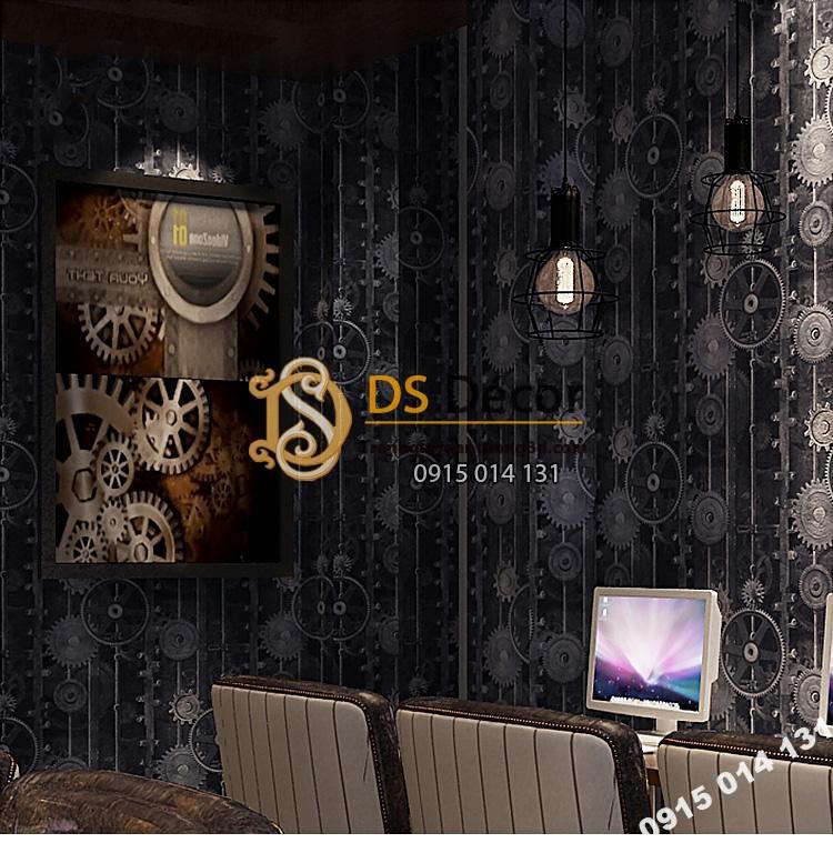 Giấy dán tường họa tiết bánh răng 3D218 màu đen trang trí quán net