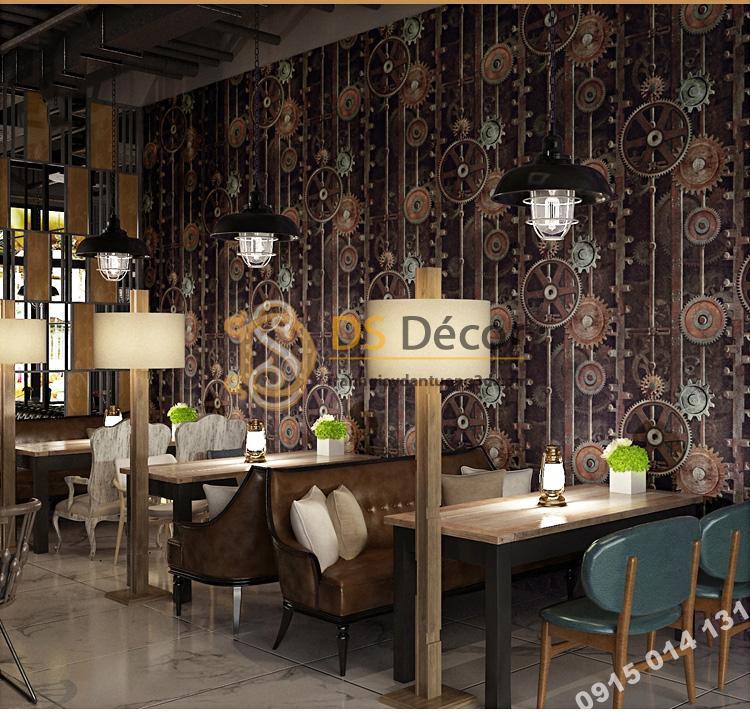 Giấy dán tường họa tiết bánh răng 3D218 màu nâu trang trí quán cafe