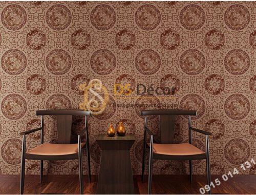 Giấy dán tường họa tiết totem hoài cổ 3D222 màu cafe