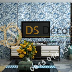 Giấy dán tường họa tiết totem hoài cổ 3D222 màu xanh