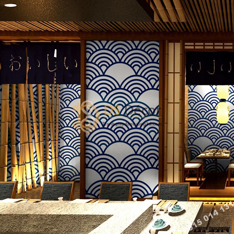 Giấy dán tường phong cách Nhật Bản sóng biển 3D214 tím than