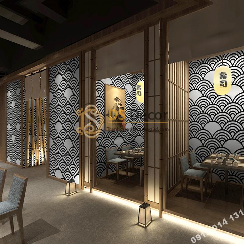 Giấy dán tường phong cách Nhật Bản sóng biển 3D214 trắng đen