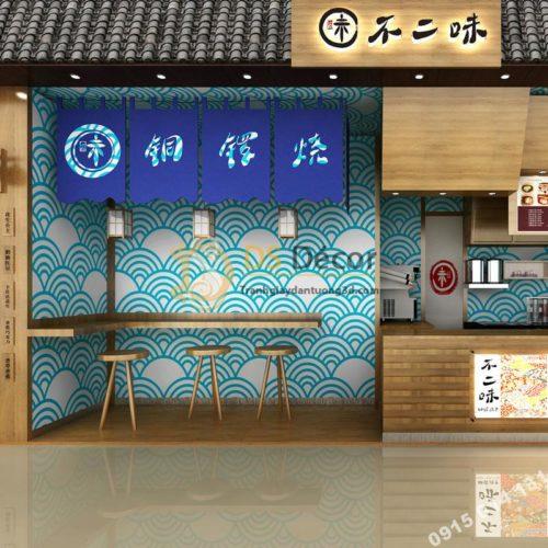 Giấy dán tường phong cách Nhật Bản sóng biển 3D214 màu xanh