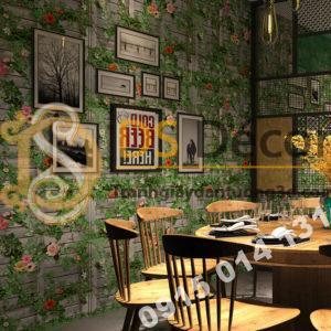 Giấy dán tường quán ăn hoa leo tường gỗ 3D213