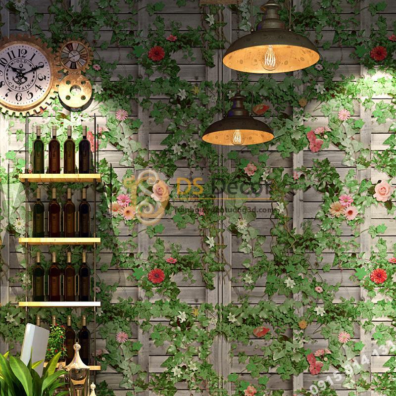 Giấy dán tường quán cafe hoa leo tường gỗ 3D213