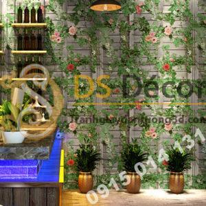 Giấy dán tường quán rượu hoa leo tường gỗ 3D213