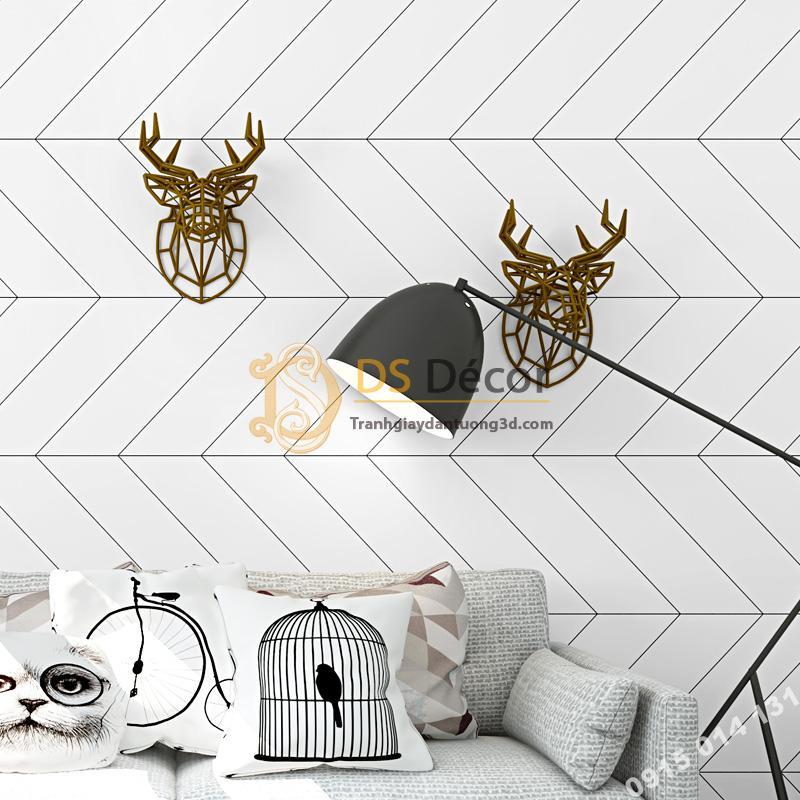Giấy dán tường sọc chéo trắng đen hiện đại 3D211 trang trí phòng ngủ