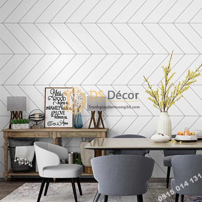 Giấy dán tường sọc chéo trắng đen hiện đại 3D211 trang trí phòng ăn