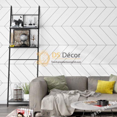 Giấy dán tường sọc chéo trắng đen hiện đại 3D211 trang trí phòng khách