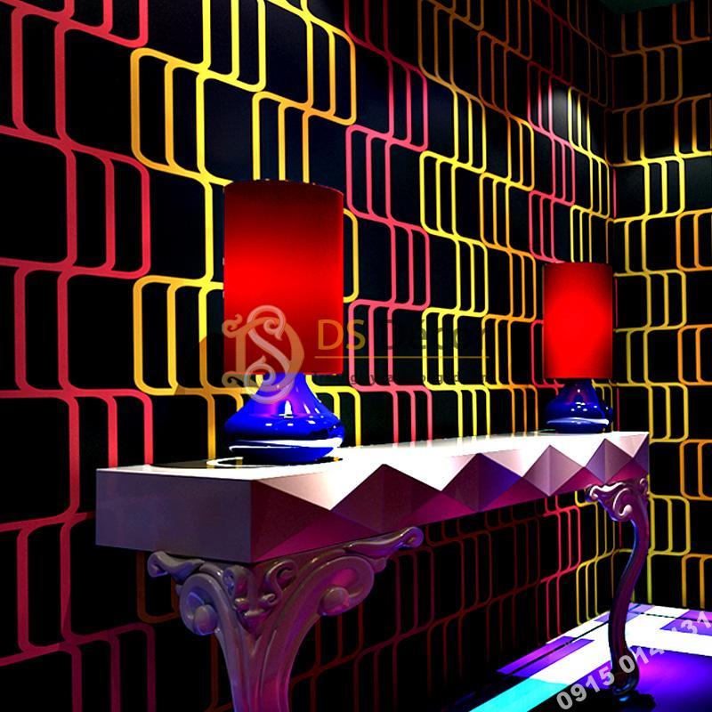 Giấy dán tường sọc vàng hồng quán bar hộp đêm 3D215