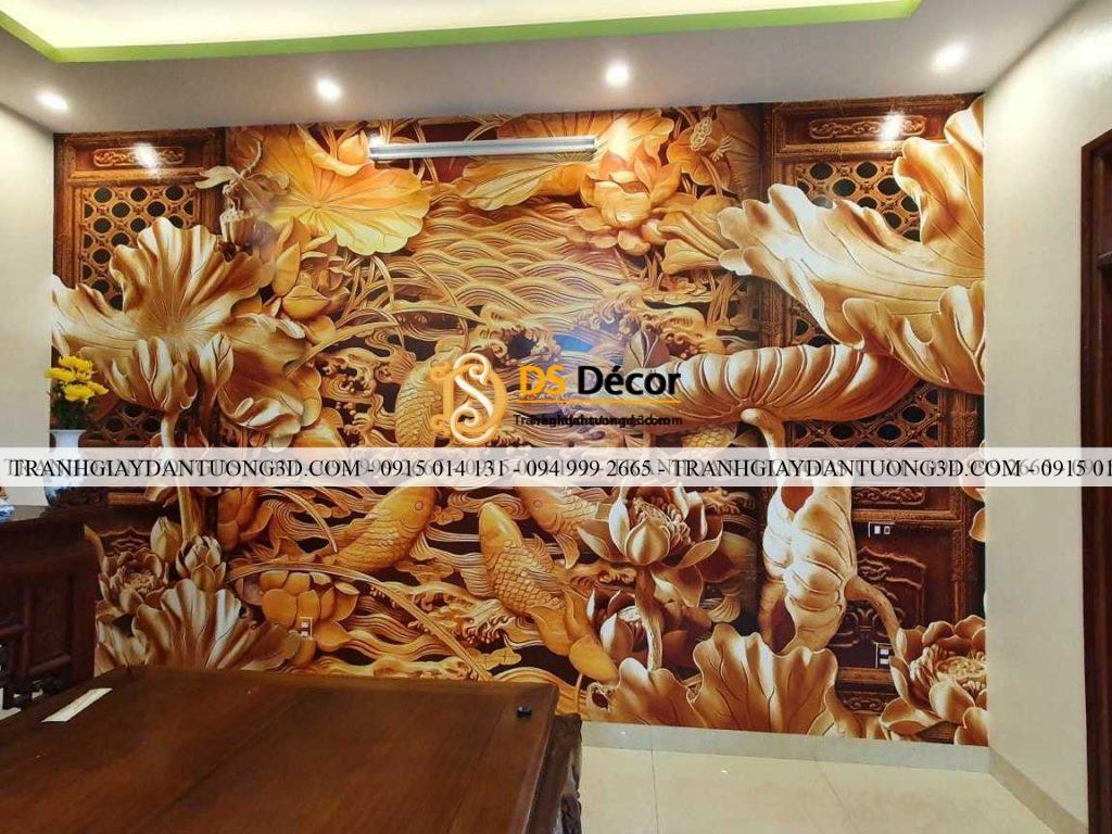 Tranh lụa 3D phòng thờ điêu khắc gỗ