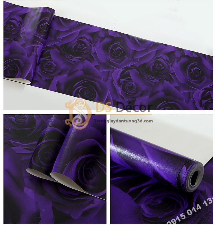 Bề mặt Giay-dan-tuong-hoa-hong-3D232 màu tím