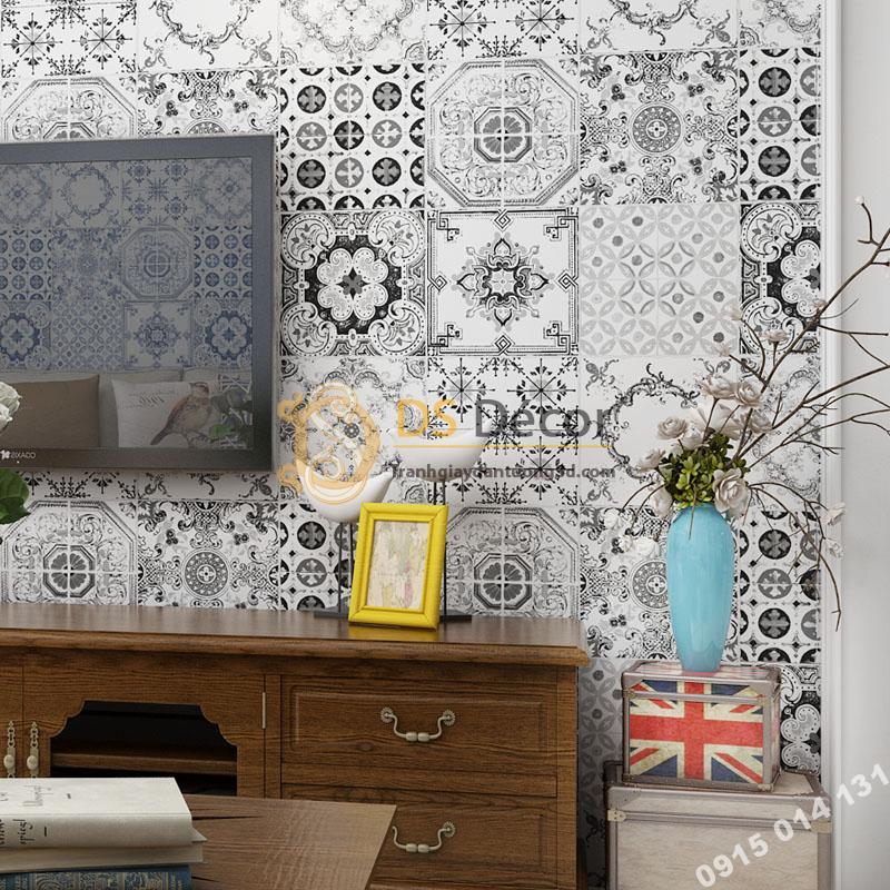 Giấy dán tường giả gạch bông men sư 3D231 màu trắng đen