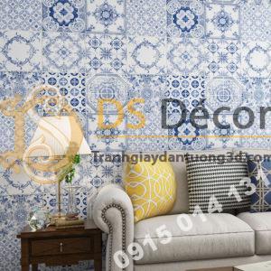 Giấy dán tường giả gạch bông men sư 3D231 màu xanh