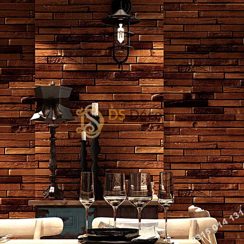 Giấy dán tường giả gạch nâu độc đáo 3D230 màu đậm