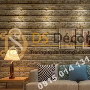 Giấy dán tường giả gỗ cháy độc đáo 3D228 màu cam