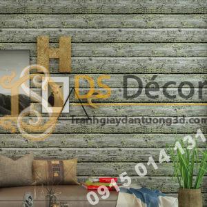 Giấy dán tường giả gỗ cháy độc đáo 3D228 màu vàng