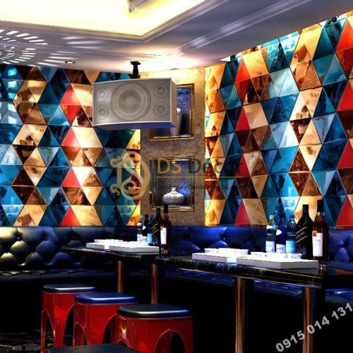Giấy dán tường giả kính thủy tinh phòng hát karaoke 3D233 màu xanh đỏ