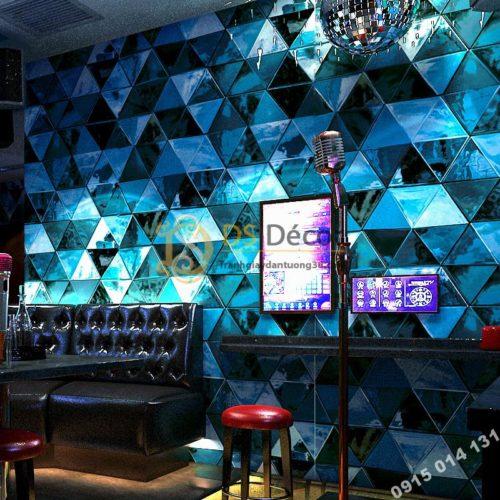 Giấy dán tường giả kính thủy tinh phòng hát karaoke 3D233 màu xanh dương