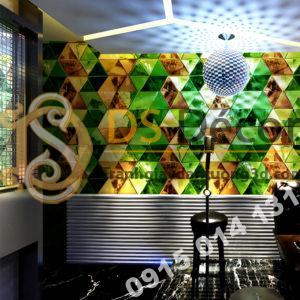 Giấy dán tường giả kính thủy tinh phòng hát karaoke 3D233 màu xanh lá cây